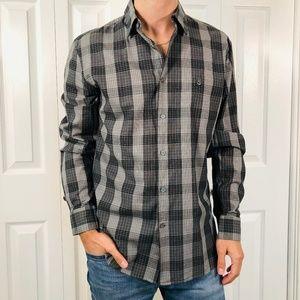 John Varvatos Star USA Grey Black Check Shirt S